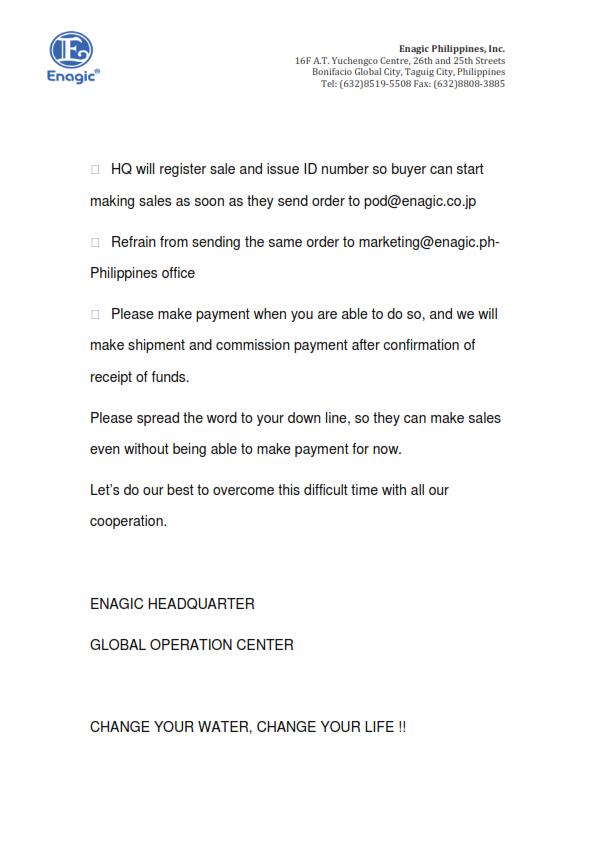 New Policy from Enagic Head Quarters