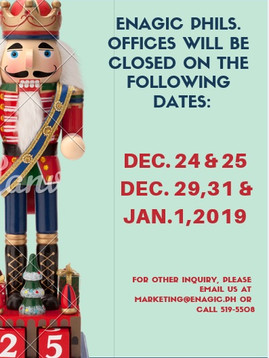 Enagic Philippines OfficeSchedule for December 2018