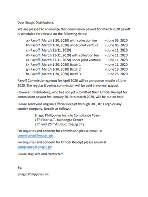 Payoff Announcement