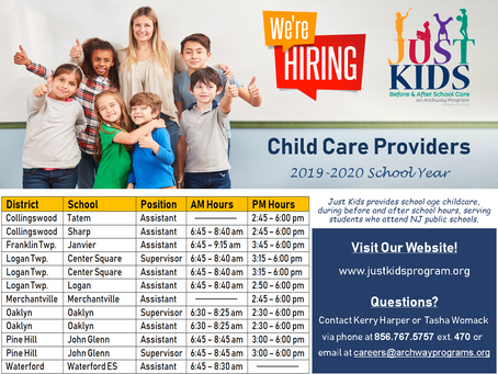 Currently Seeking Child Care Providers for the 2019-2020 School Year