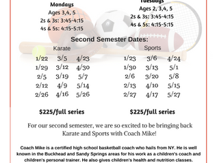 Sports & Karate with Coach Mike: Second Semester Dates