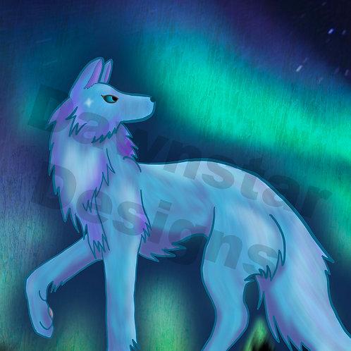 Aurora Wolf Print
