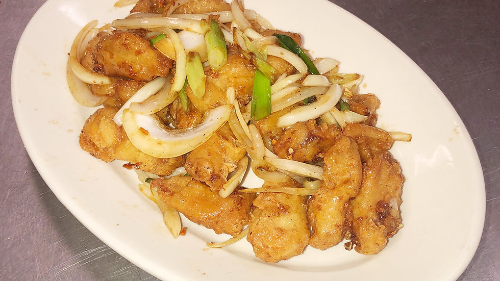 F4. Tilapia with Onions & Tempura Sauce