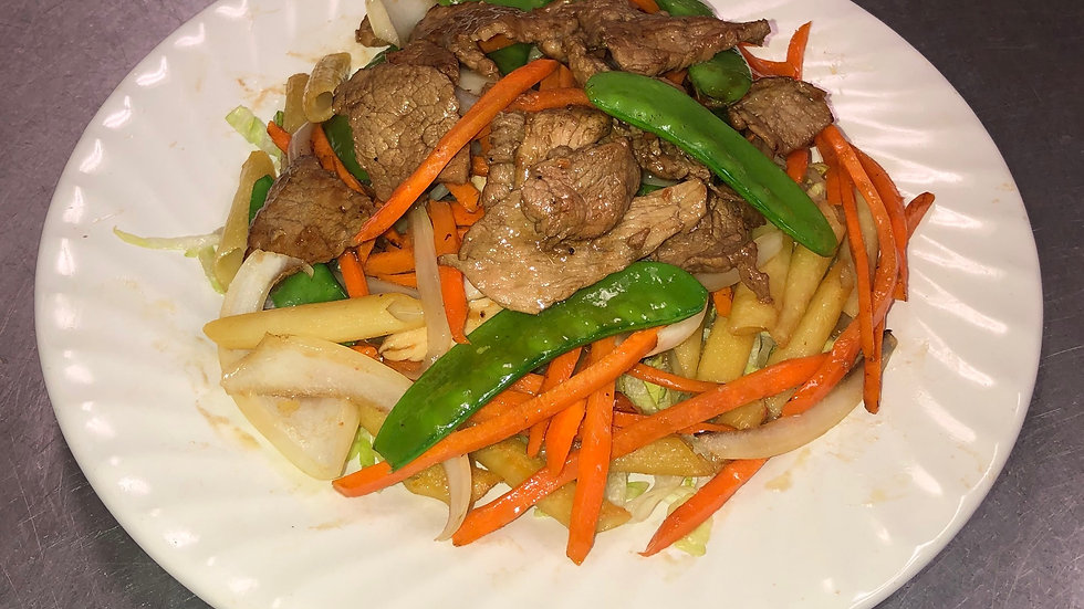 135. Stir Fried Macaroni with Beef, Onions & Peapods.