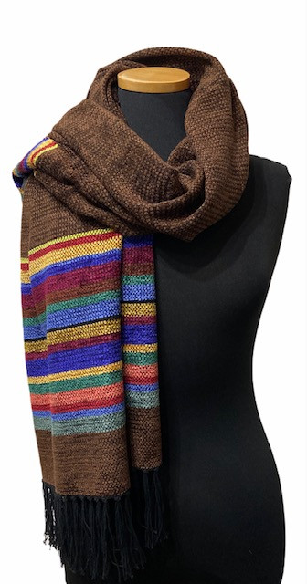 Chocolate Border Stripe Shawl