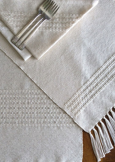 Bronson lace, natural, placemat, placemats, napkin, napkins, cotton, woven, handmade, handwoven, weaving, made in USA