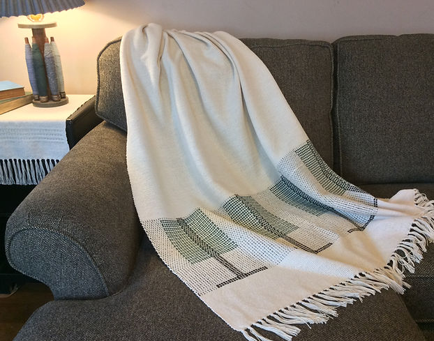 Pine Tree, natural, throw, blanket, cotton, woven, handmade, handwoven, weaving, made in USA