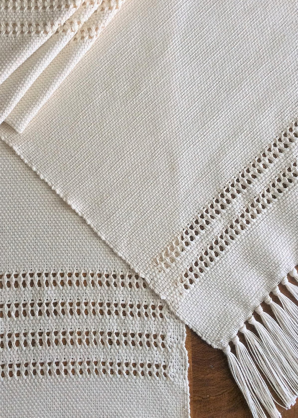 Leno Lace, natural, placemat, placemats, napkin, napkins, cotton, woven, handmade, handwoven, weaving, made in USA