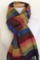 Handwoven, hand made, chenille scarves, scarf, rainbow scarves, hand woven, weaving, woven, made in the us,  rayon chenille, pride, lgbt apparel, rainbow, stripes, colorful