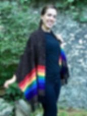 Rainbow Chenille Shawl or Poncho