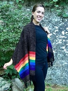 Rainbow Chenille Shawl or Poncho