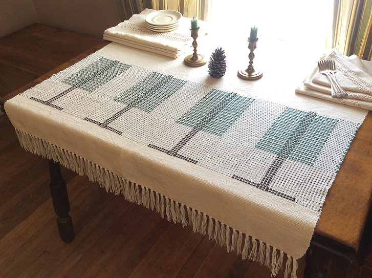 Pine Tree, Table cloth, natural, table top, cotton, woven, handmade, handwoven, weaving, made in USA