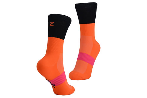 NOB SOCKS - NEON ORANGE/BLACK
