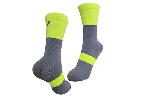NOB Sock - Grey/Neon Yellow