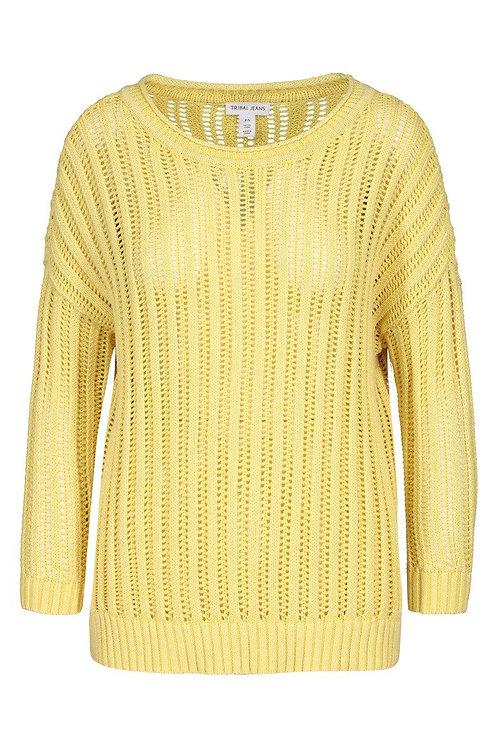 Cotton Vintage Feel 3/4 sleeve Open Rib Sweater