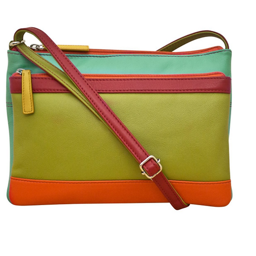 RFID Double zip Multi color block crossbody