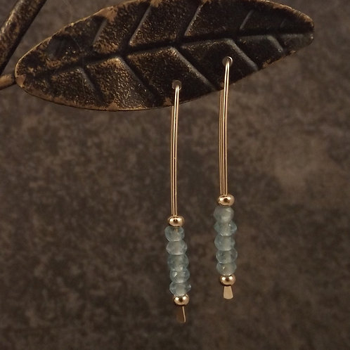Gold and Apatite on handforged ear wires