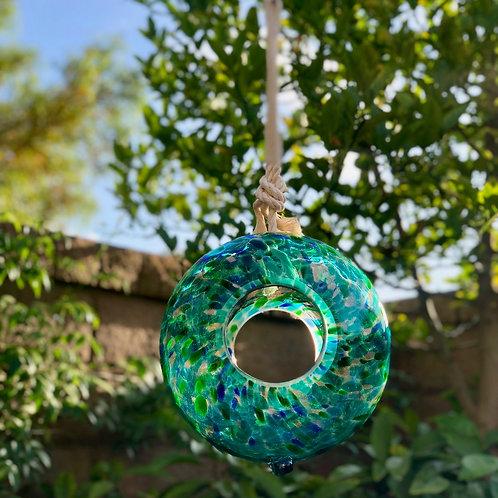 """Handmade Art Glass Bird Feeder 8.7"""" Sun Catcher"""