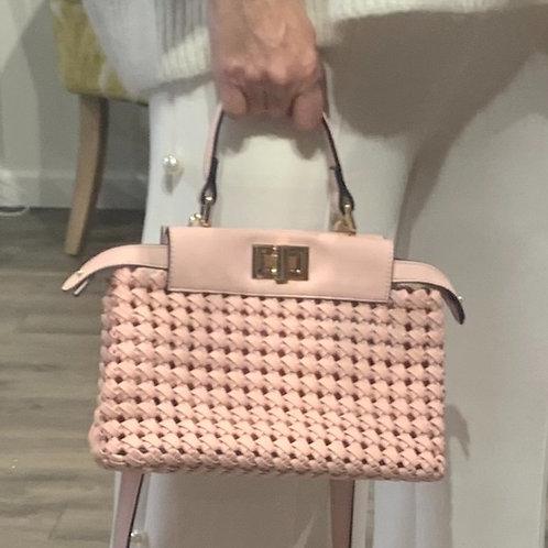 Pink Woven frame Satchel/crossbody