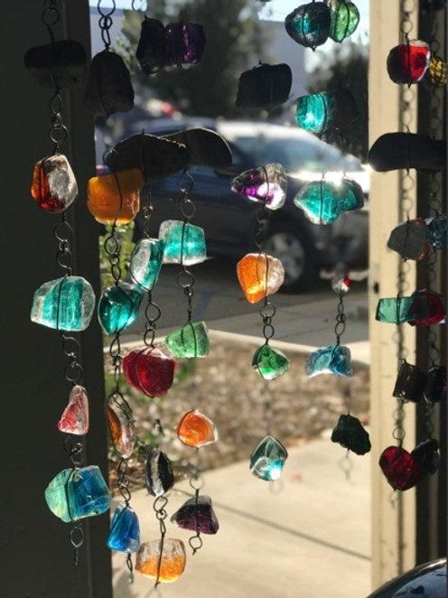 Art Glass & Rock Rain Chain