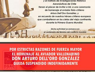 Suspendido: Homenaje al aviador Arturo Dell'Oro González en Vallenar