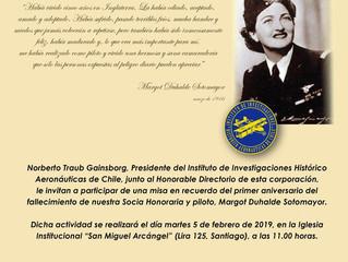 Invitación a Misa Aniversario en recuerdo de Margot Duhalde Sotomayor