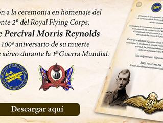 Invitación a la ceremonia en homenaje del teniente 2° del Royal Flying Corps, Sr Eyre Percival Morri
