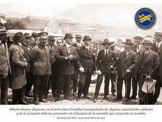 Ceremonia inauguración monumento a Alberto Santos Dumont en Recoleta.