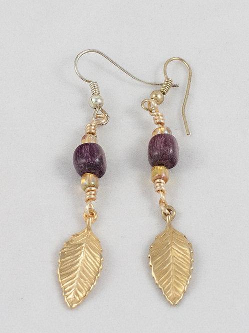 Leaf Charm Earrings: Chestnut/Gold