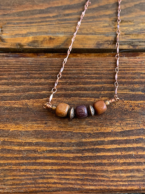 Exotic Wood Bead Necklace#12