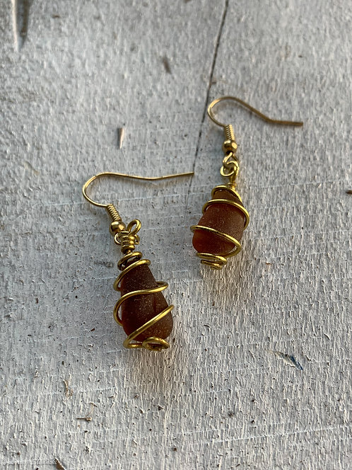Caged Seaglass Earrings 1