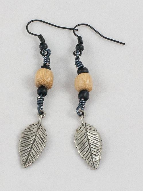 Leaf Charm Earrings: Chestnut/Silver