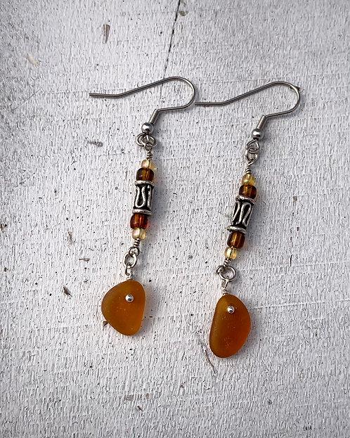 Seaglass Drop Earrings Dark Amber