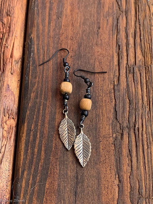 Leaf Charm Earrings: Chestnut/Silver