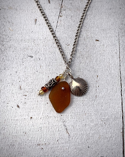 Seaglass and Shell Charm Necklace Dark Amber