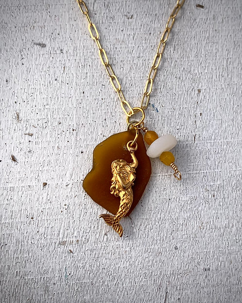 Seaglass and Mermaid Charm Necklace Dark Amber