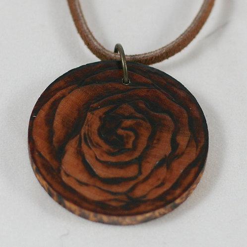 Round Pyro Rose Necklace