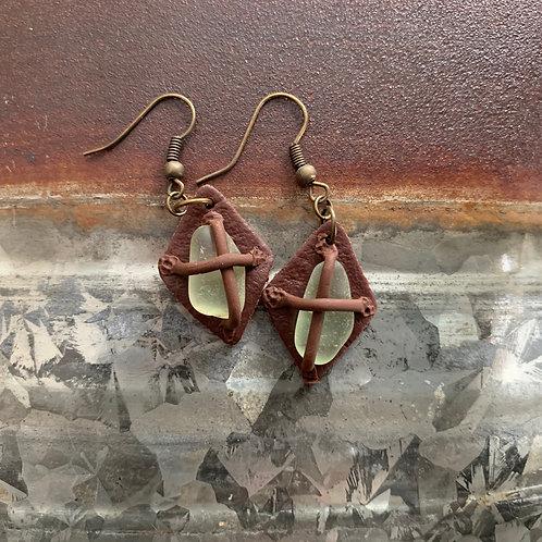 Leather-look Seaglass Earrings Brown/Seafoam