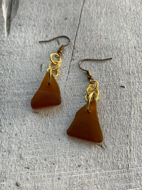 Seaglass Drop Earrings Red/Amber 1