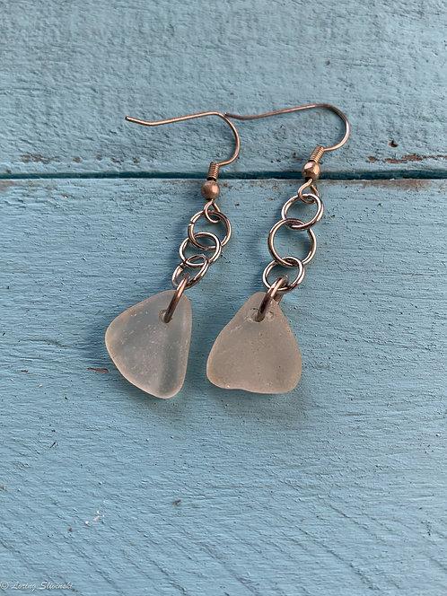 Seaglass Drop Earrings White