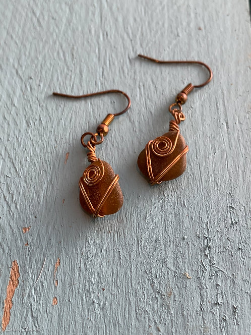Seaglass Wire-wrap Earrings
