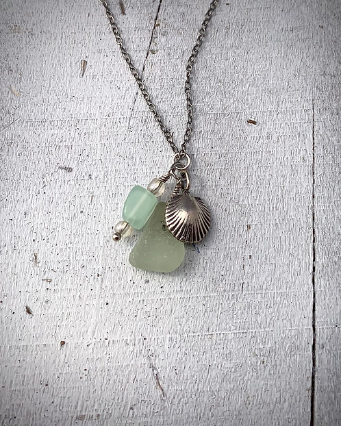 Seaglass and Shell Charm Necklace Seafoam