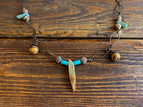 Earthy bead Necklace brown/turquoise