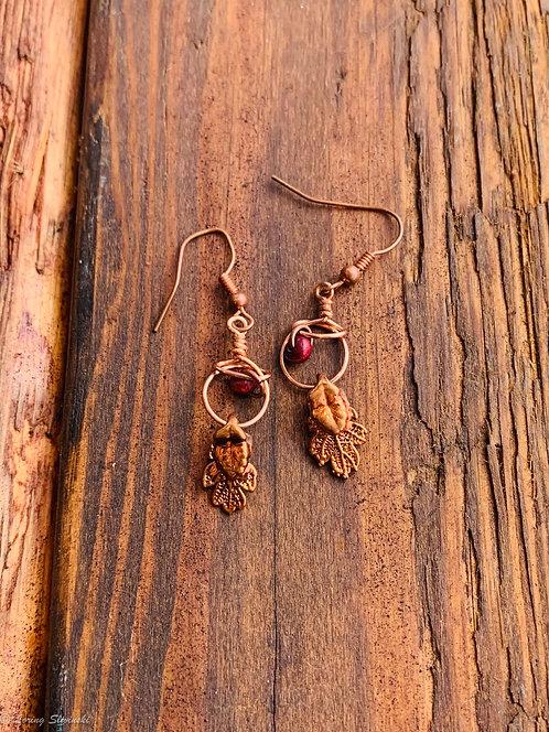 Gilded Leaf Earrings: Oak/Copper
