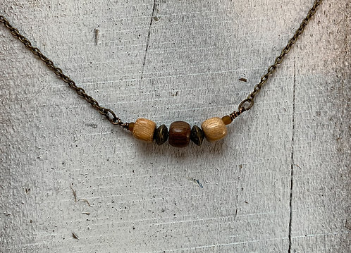 Exotic Wood Bead Necklace#3