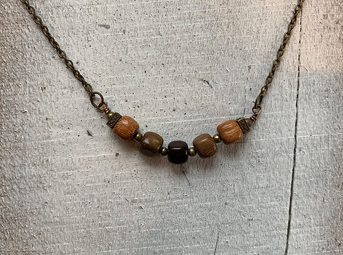 Exotic Wood Bead Necklace#1