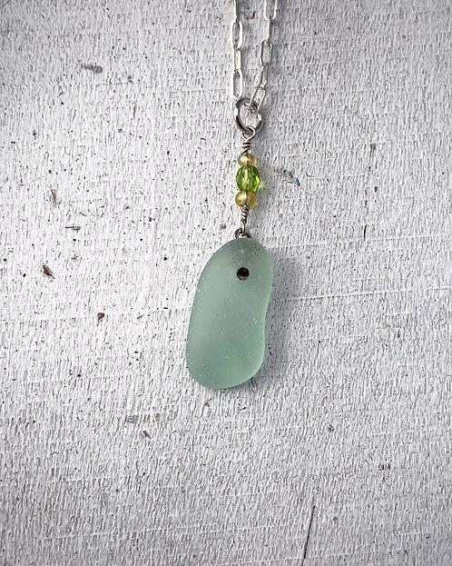Seaglass Drop Necklace Seafoam