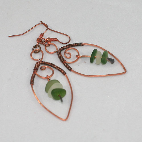 Copper Wire and Seaglass Earrings