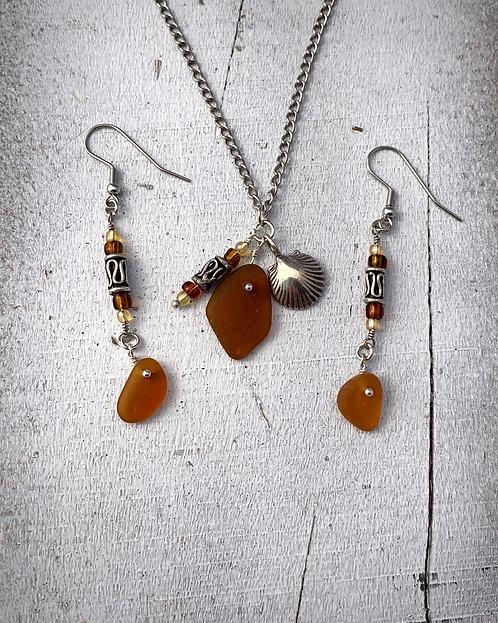 Seaglass and Shell Charm Set Dark Amber