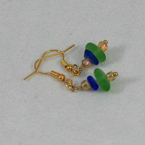 Stacked Seaglass Earrings (various colors available)